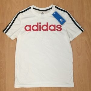 BNWT Adidas White Navy Blue Striped Shirt